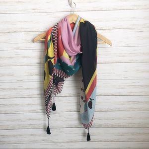 Ann Taylor colorful scarf, fruit design & tassels